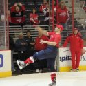Troy Brouwer throws something during Fan Appreciation Day. (Phillip Van der Vossen)