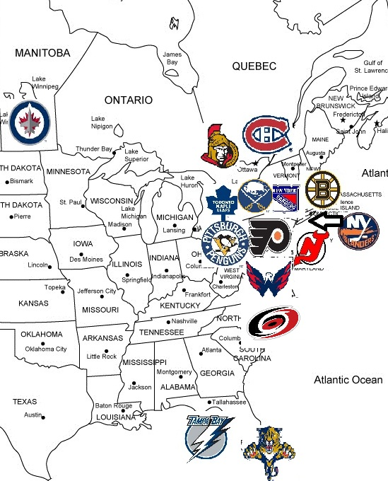 map of the NHL Eastern Conference