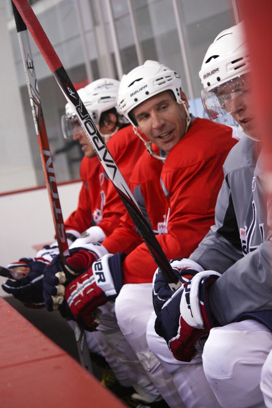 Alex Ovechkin, Mike Knuble and Nicklas Backstrom